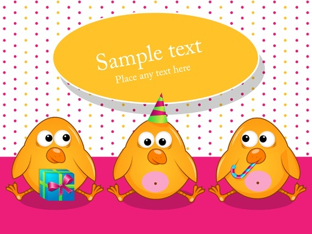 baby chicken: Vector greeting card with poults Illustration