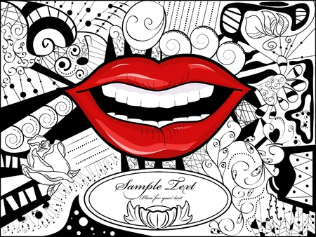 Vector picture with lips, bizarre background and space for your text
