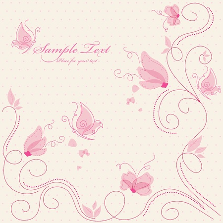 Vector pink floral greeting card Vector