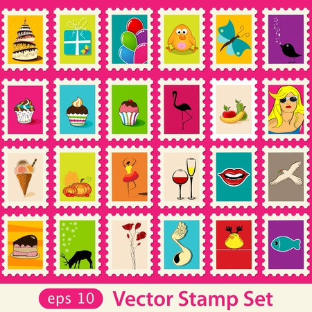 Vector post stamps set Vector