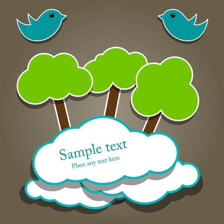 Vector paper composition with tree and birds Vector