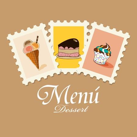 carta de postres: Patrón de menú de postres de vectores