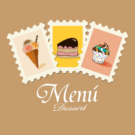 dessert menu: Vector dessert menu pattern Illustration