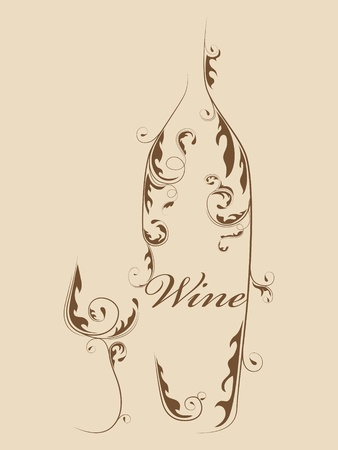 wineglasses: Abstract picture of wine bottle and wine glass