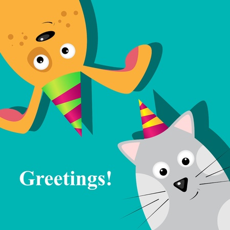 animals and pets: Vector greeting card with dog and cat