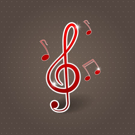 Vector musical background with treble clef Stock Vector - 10348543