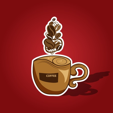 coffee cup vector: Vector picture with coffee cup on red background Illustration