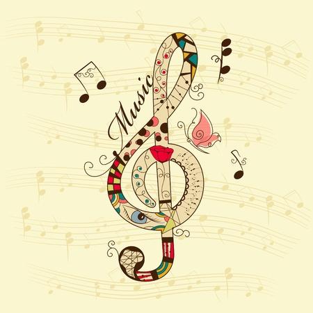 clave de sol: música de fondo con agudos clef