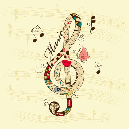 treble clef: musical background with treble clef Illustration