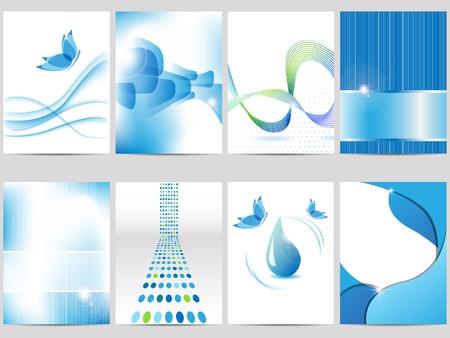 folleto: folleto azul escenograf�a Vectores