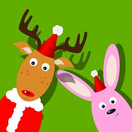 xmas greeting card with Rudolph and bunny
