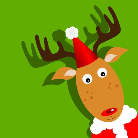 Vector xmas greeting card with Rudolph Vector
