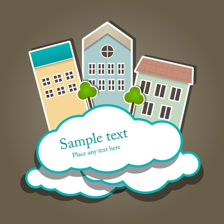 Vector paper composition with clouds and buildings Vector