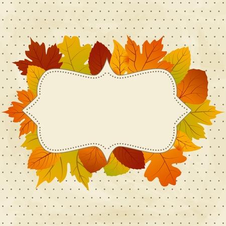 Marco retro vectorial con otoño hojas