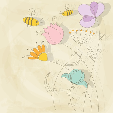 Vector picture with flowers and bee