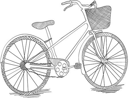 hand crank: Bicicleta dibujada de mano