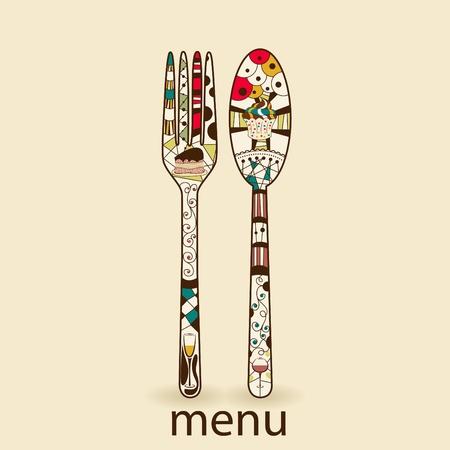 meny: Meny mönster med sked och gaffel