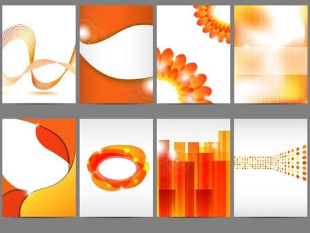 Orange brochure design set Illustration