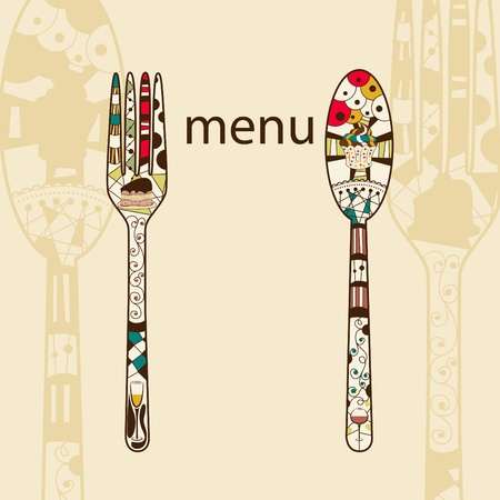 ornament menu:  menu pattern with spoon and fork