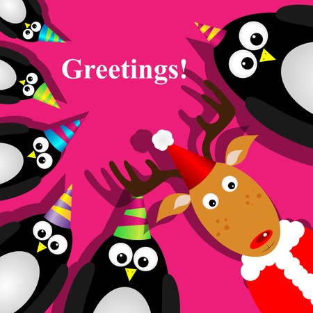 greeting card with a penguins Vector
