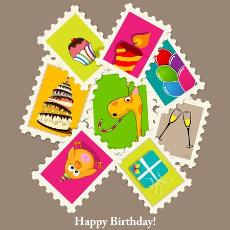 poult: birthday greeting card with stamps Illustration