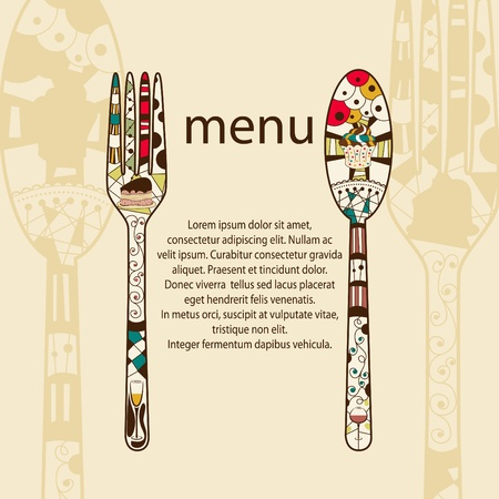 menu pattern with spoon and fork Stock Vector - 10691542