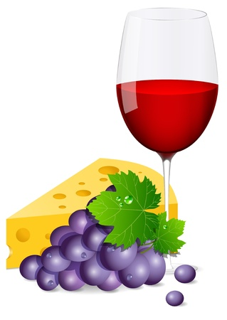 wine glass with grapes and cheese Vector