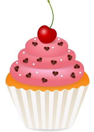 torta panna: cupcake con ciliegia Vettoriali