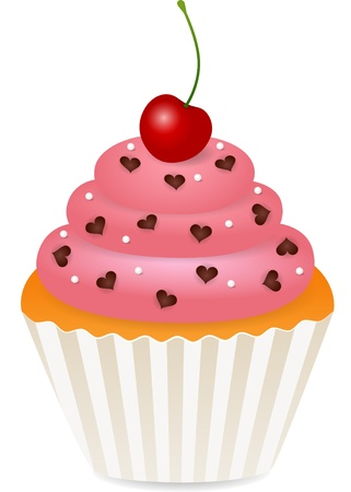 cupcake with cherry Stock Vector - 10691525