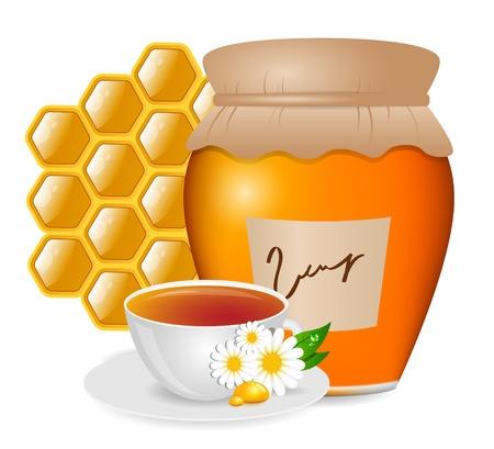 jar: foto con la miel y el té Vectores