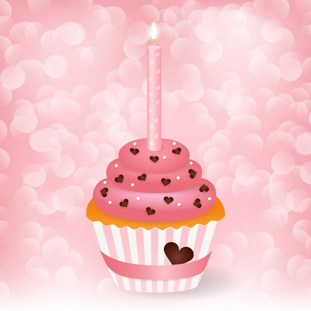 wedding greeting card with cupcake Vector