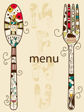 spoon fork: Vector menu pattern with spoon and fork