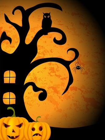 monsters house: Vector halloween picture  Illustration