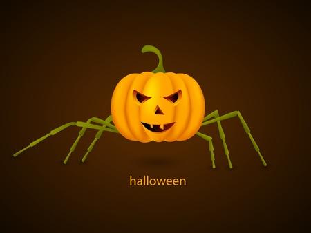 Vector picture with pumpkin spider Vector