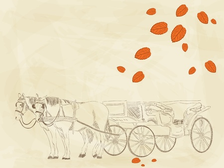 Vector hand drawn picture with horses Vector