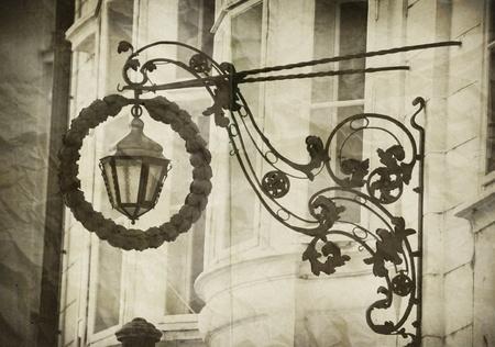 Vintage photo with street lanterns photo