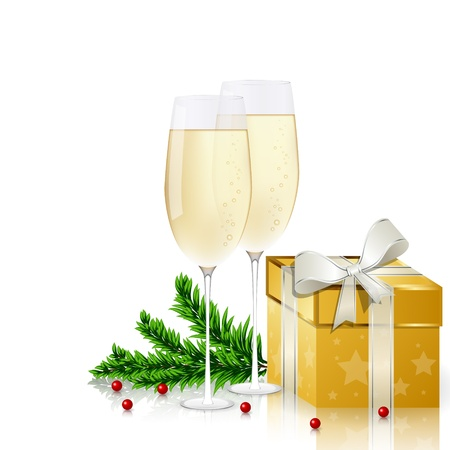 New year greeting card with champagne Stock Vector - 10909625