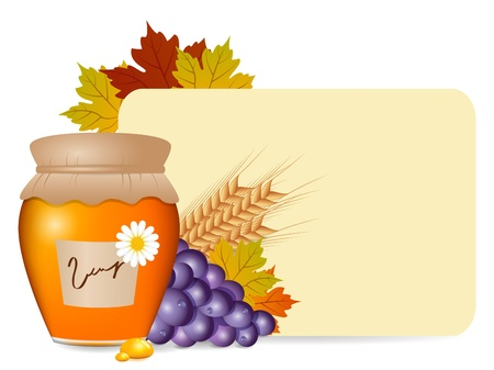 autumn fruits and blank Vector