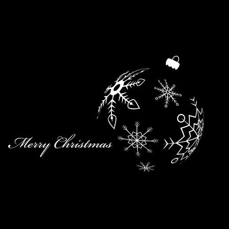 White silhouette of christmas ball Stock Vector - 10909607