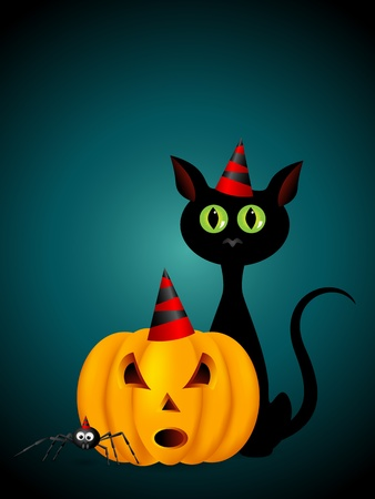 halloween pumpkin, cat and spider Vector