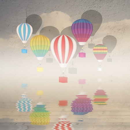 Hot ait balloons illustration illustration