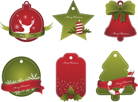 Set of Christmas red and green tags Vector
