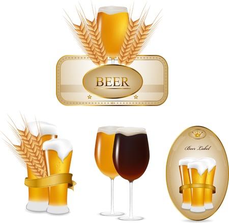 clip art wheat: beer set
