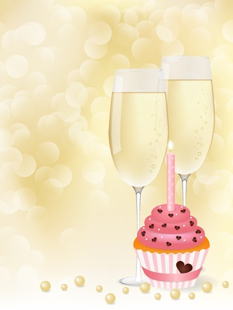 champagne toast:  picture champagne and cupcake Illustration