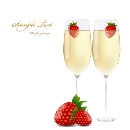 picture champagne and strawberries Vector