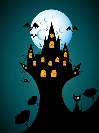 halloween picture with castle Vector