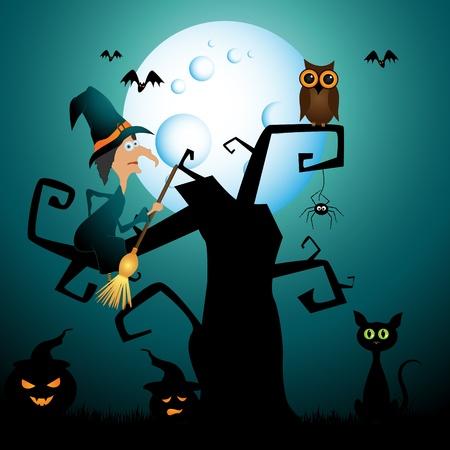 moon  owl  silhouette:  halloween picture Illustration