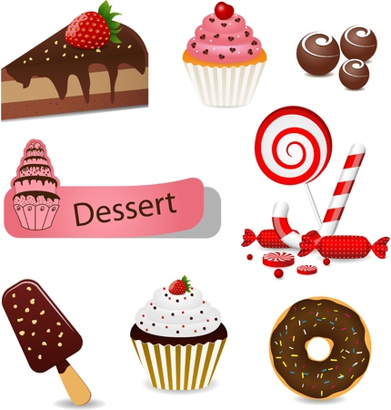 Vector set with different types of sweets Vector