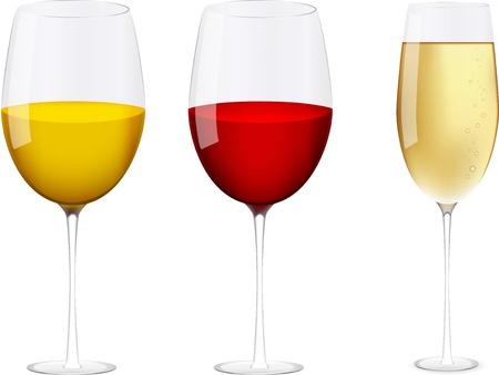 flutes: Vector wine glasses