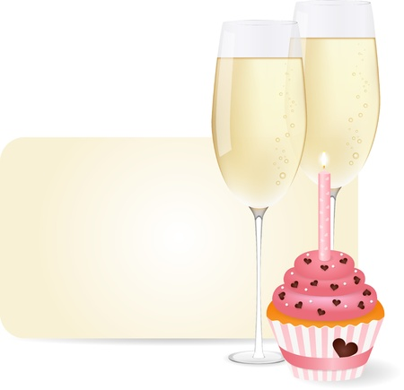 Vector picture champagne and cupcake Vector